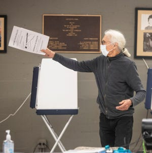 Jim Roche points to where a voter needs to submit his ballot during the Florida primary election, Tuesday, March 17, 2020. Roche, a noted Tallahassee artist, believes it is important to vote but to also do what he can to prevent the spread of the coronavirus.