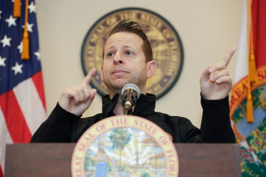 Director of the Florida Department of Emergency Management Jared Moskowitz answers questions from the press after the governor announced the closure of bars and nightclubs for 30 days and mandatory social distancing and crowd capacity measures for restaurants Tuesday, March 17, 2020.
