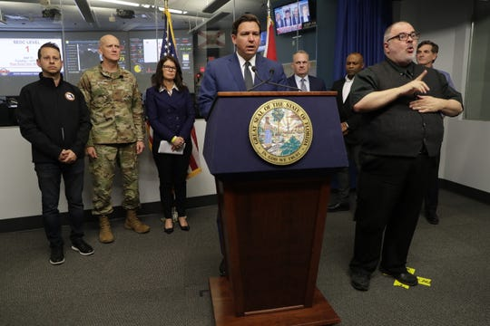 Gov. Ron DeSantis speaks at a press conference held to give an update on COVID-19 at the State Emergency Operations Center in Tallahassee Tuesday, March 17, 2020.