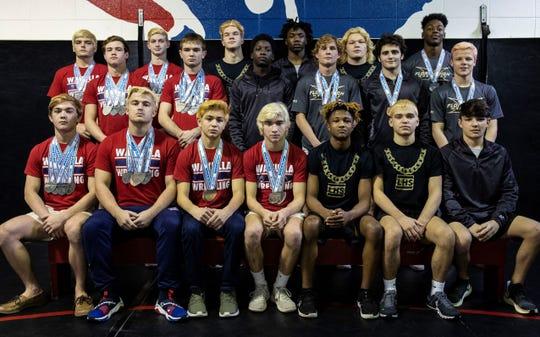 The 2020 All-Big Bend wrestling first team. Bottom row, L-R: Matthew Owen (Wakulla), John Trevor Hinsey (Wakulla), George Hernandez (Wakulla), Raymond Hatchman (Wakulla), Elijah Hendley (Lincoln), Jimmy Martin (Lincoln), Hunter Brown (Chiles); Middle row, L-R: Chase Roberts (Wakulla), Noah Wilson (Wakulla), Femi Egberongbe (Chiles), Tyler Reeve (Florida High), Wrestler of the Year Kyle McGill (Chiles), Brooks Dyer (Florida High); Back row, L-R: Slade Watkins (Wakulla), Cole Baggett (Wakulla), Tanner Washburn (Lincoln), Kevonte Times (Chiles), Tyler Moss (Lincoln), Marcus Haigler (Florida High).