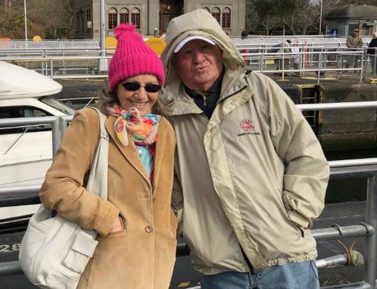 Angela and Marin Pavkovic of West Palm Beach, seen here visiting Seattle in 2019, were stranded on a cruise ship in the Mediterranean Sea as of March 17, 2020.