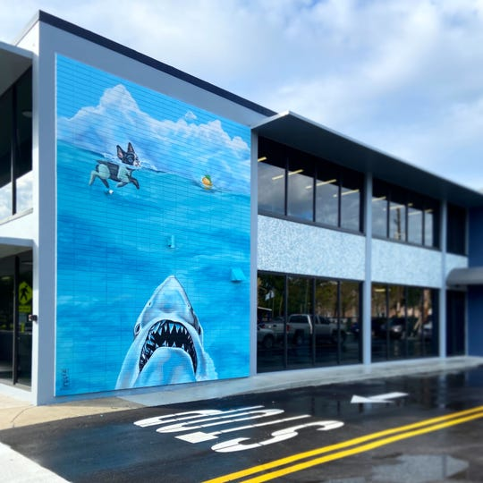 "This mural by Miami-artist Nate ""Dee"" Delinois was on the north side of the BLUEDOG business services building, 2205 14th Ave., Vero Beach, from late December 2019 until early March 2020."