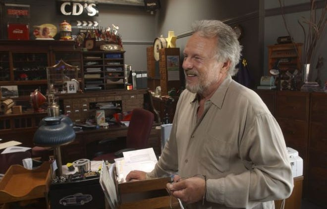 Jim Salzer, shown in this 2007 photo, died Sunday. The owner of Salzer's Records and Salzer's Video in Ventura filled his office/warehouse with various memorabilia that he'd collected over the years.