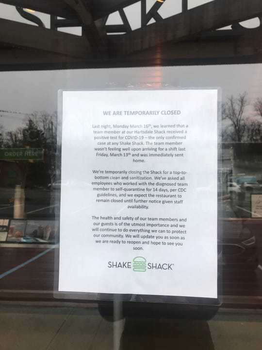 Sign posted at Shake Shack in Hartsdale.