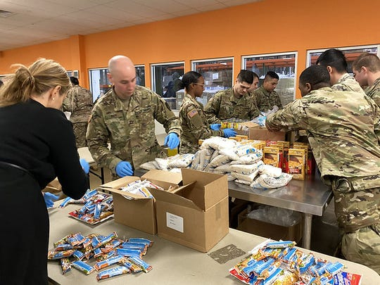 National Guard helping pack at Feeding Westchester