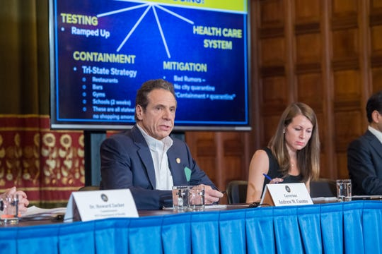 Gov. Andrew Cuomo holds a briefing on coronavirus and reiterates what measures the state is taking at a news conference at the state Capitol on Tuesday, March 17, 2020.