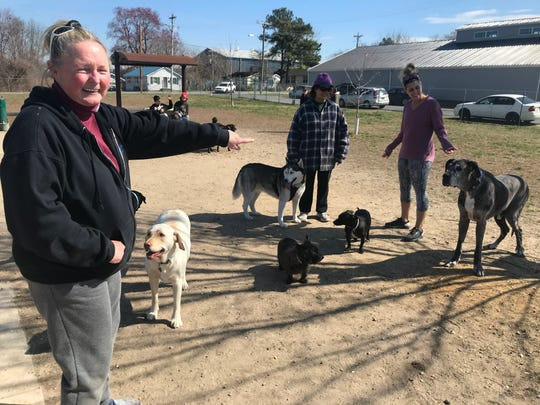 "Milford residents used the coronavirus pandemic as an excuse to take their dogs to a local park on Tuesday. ""They have to get out,"" Susan Berwick said of the dogs, though she may have been referring to the humans, too."