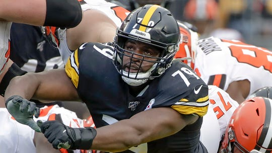 Pittsburgh Steelers nose tackle Javon Hargrave (79) plays against the Cleveland Browns during an NFL football game, Sunday, Dec. 1, 2019, in Pittsburgh. (AP Photo/Gene J. Puskar)