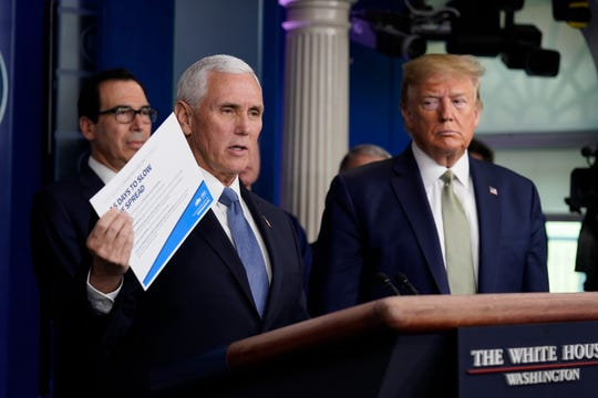 Vice President Mike Pence speaks during a press briefing with the coronavirus task force at the White House on March 17.