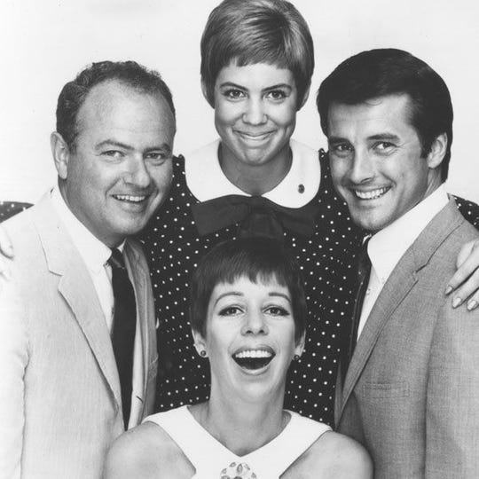 "The original cast of ?The Carol Burnett Show? in 1967: Vicki Lawrence (clockwise from top), Lyle Waggoner, Carol Burnett and Harvey Korman.  CBS The original cast of ""The Carol Burnett Show"" in 1967: Vicki Lawrence (clockwise from top), Lyle Waggoner, Carol Burnett and Harvey Korman."