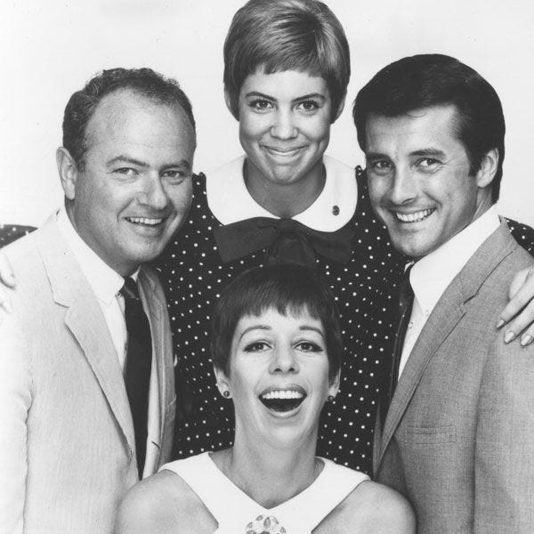 """The original cast of ?The Carol Burnett Show? in 1967: Vicki Lawrence (clockwise from top), Lyle Waggoner, Carol Burnett and Harvey Korman.  CBS The original cast of """"The Carol Burnett Show"""" in 1967: Vicki Lawrence (clockwise from top), Lyle Waggoner, Carol Burnett and Harvey Korman."""