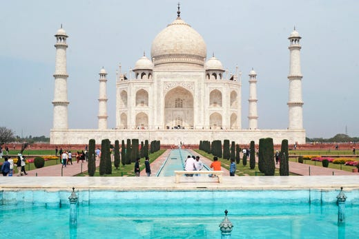A low number of tourists are seen at Taj Mahal amid concerns over the spread of the COVID-19 novel coronavirus, in Agra on March 16, 2020.