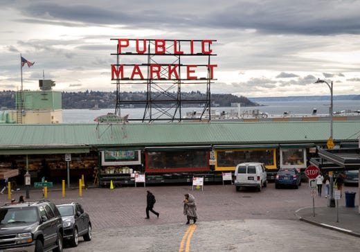 The Pike Place Market stands virtually empty of patrons on March 10, 2020 in downtown Seattle, Washington. The historic farmer's market is Seattle's most popular tourist attraction.