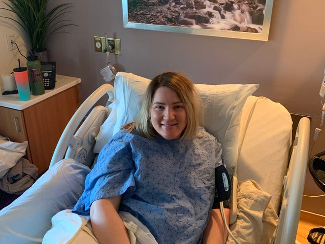 Trisha Jensen went to the hospital on March 16 to get induced a couple of days ahead of her due date but was sent home when it didn't work.