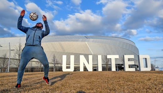 Enock Mohamed of St. Paul, Minn. juggles a soccer ball on an empty mall at Allianz Field as the March 15, 2020 match between the New York Red Bulls and Minnesota United FC is postponed due to the COVID-19 coronavirus.