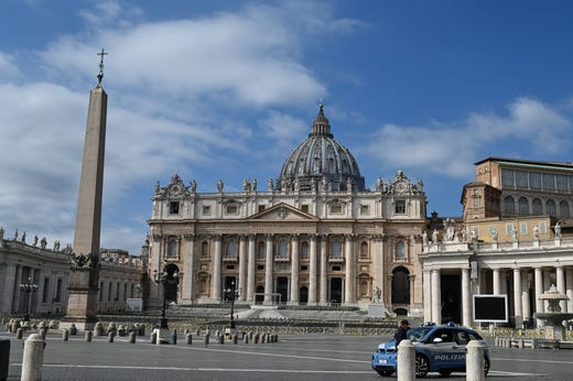 A general view of the empty Vatican's St. Peter's Square and its main basilica on March 15, 2020 days after its closure to tourists as part of a wider crackdown to contain the coronavirus pandemic.