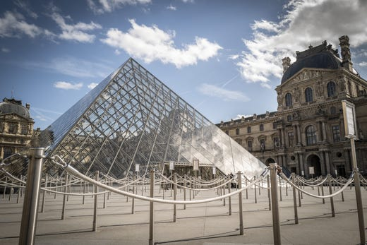 The Louvre Museum stands empty on March 15, 2020 in Paris, France.