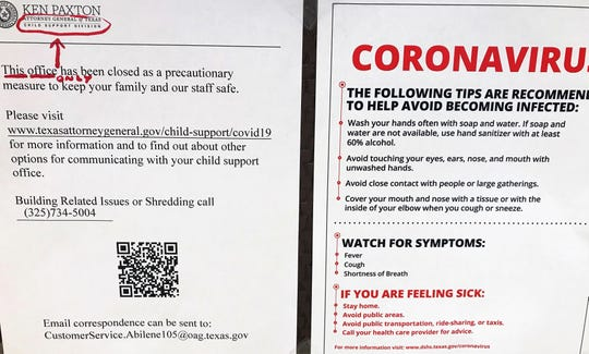 Signs announcing closings and giving health tips have become common in Abilene, sometimes posted side by side.