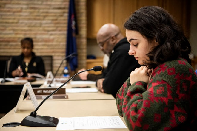 Battle Creek Public School Trustee Jacqueline Slaby attends a board meeting on Wednesday, March 18, 2020 in Battle Creek, Mich. The board voted to continue pay for their third party employees throughout the closure.