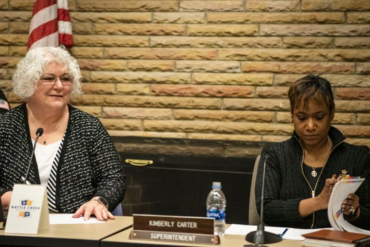 Battle Creek Public School Board of Education President Karen Evans and Superintendent Kimberly Carter conduct a board meeting on Wednesday, March 18, 2020. The district has a financial cushion that will help minimize the immediate effect of funding cuts due to COVID-19, but the coming years could be difficult.