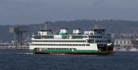 The 11:10 am sailing of the Washington State Ferry Kaleetan leaves Bremerton on Wednesday, March 18, 2020.