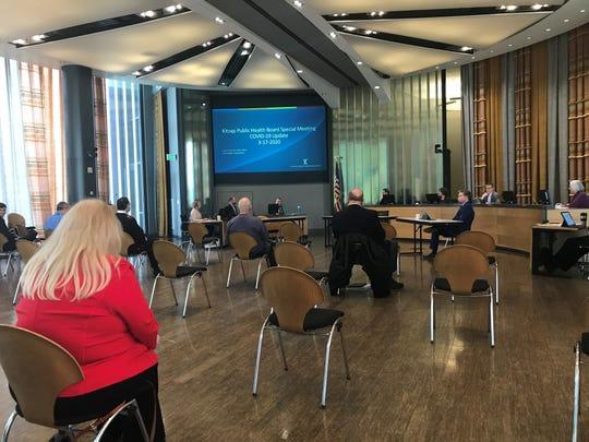 Social distancing at a Kitsap Public Health Board's special meeting