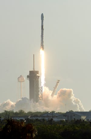 SpaceX launches a Falcon 9 rocket from Kennedy Space Center's pad 39A on its sixth Starlink mission on Wednesday, March 18, 2020.