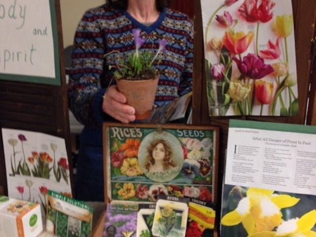 Using collected items from around home, Earth, Wind and Flowers Garden Club member Janet Nance shows that the hope of gardening has not been canceled. Spring has not been canceled.