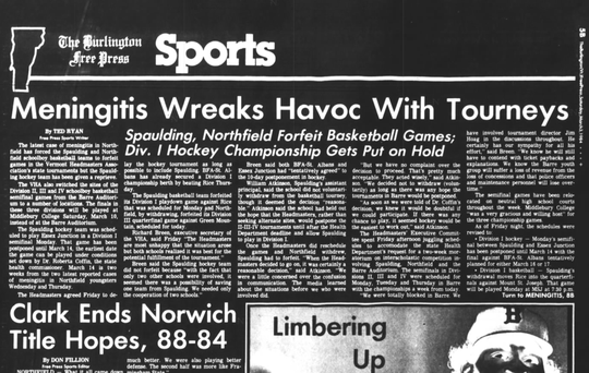 The Burlington Free Press sports page from March 3, 1984 reports on playoff forfeits by Northfield and Spaulding because of the meningitis outbreaks in those communities