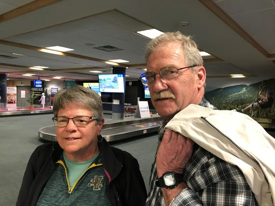 Karen and Steve Chase returning to Burlington from Florida on Wednesday, March 18, 2020.