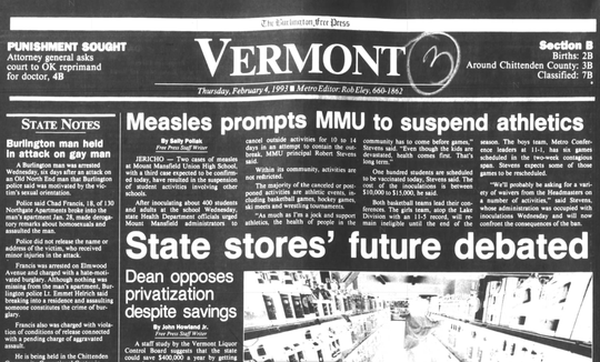 The Burlington Free Press sports page from Feb.  4, 1993 reports on on measles affecting sports at Mount Mansfield Union High School.
