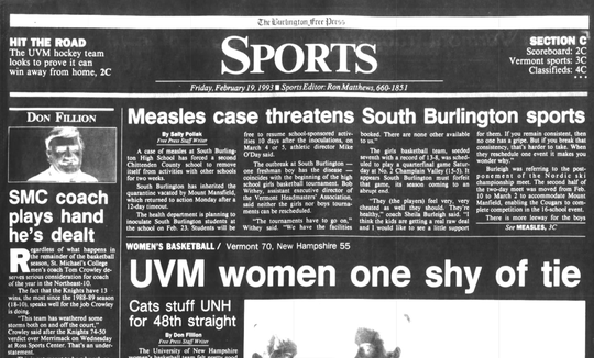 The Burlington Free Press sports page from Feb.  19, 1993 reports on measles affecting sports at South Burlington High School.