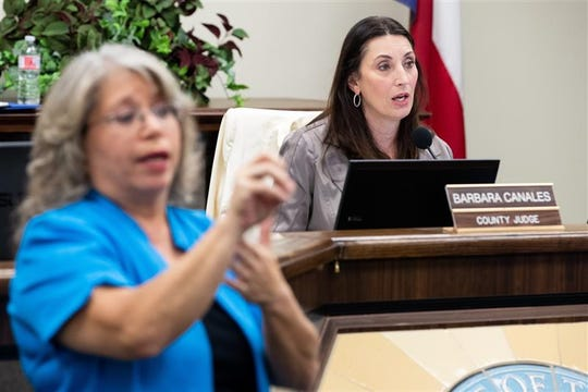 Nueces County Judge Barbara Canales speaks about the COVID-19 response at a news conference Wednesday.