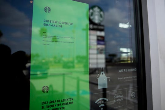 Starbucks at Saratoga Boulevard and Weber Road in Corpus Christi, Texas was open only for to-go and drive-thru orders in an effort to limit the spread of the novel coronavirus on Wednesday, March 18, 2020.