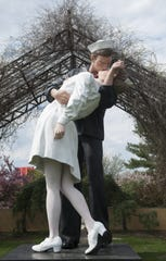 Seward Johnson's 'Unconditional Surrender' is displayed at the Grounds for Sculpture in Hamilton in 2014.