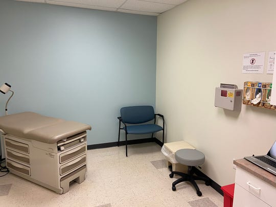 An exam room inside the new Adena Health System COVID-19 Screening Center. The clinic is operating inside the occupational health building. The building operates on a separate HVAC system and negative pressure to ensure sterile airflow.
