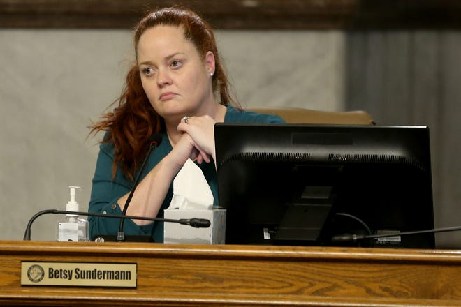 Cincinnati Council member Betsy Sundermann in attendance during a meeting, Wednesday, March 18, 2020, at City Hall in Cincinnati.