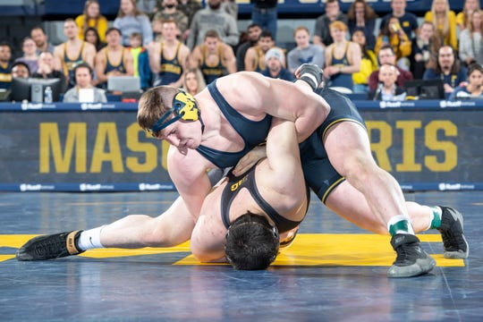 The University of Michigan Wrestling Team faced Iowa 9-27 at Crisler Arena in Ann Arbor Feb. 8 with heavyweight Mason Parris winning his match.