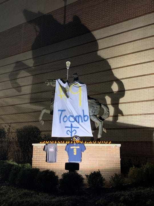 A memorial was held for former Moeller lacrosse captain Jack Toomb Tuesday evening in front of Moeller High School. Toomb, a 2015 grad, died suddenly Monday night.