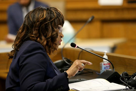 Cincinnati Health Commissioner Melba Moore addresses city council, Wednesday, March 18, 2020, at City Hall in Cincinnati.