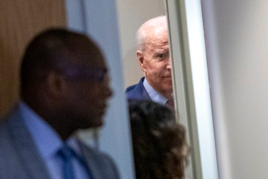 Former Vice President Joe Biden makes a campaign stop at Cherry Health - Heart of the City Health Center in Grand Rapids, Mich., Monday, March 9, 2020.