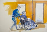 In this courtroom sketch a court officer wheels Harvey Weinstein out of a Manhattan courtroom after his sentencing Wednesday, March 11, 2020, in New York.