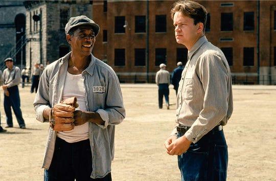 "Morgan Freeman and Tim Robbins in ""The Shawshank Redemption."""