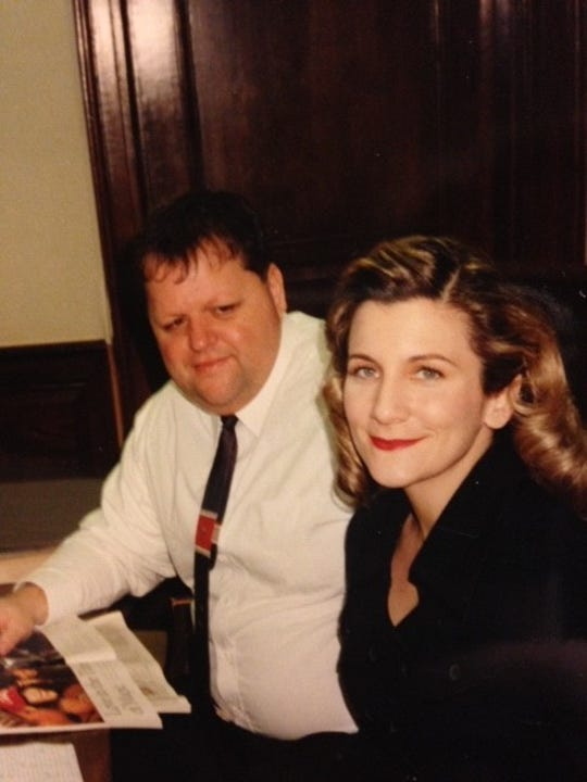 """Angelique S. Chengelis with former Detroit News sports editor Phil Laciura, before their """"big"""" scene in """"Hoffa."""""""