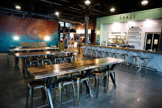 Crowds at Armature Works are sparse due to the coronavirus pandemic in downtown Tampa, Florida on Monday, March 16, 2020.