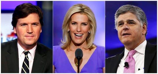 Tucker Carlson, from left, Laura Ingraham and Sean Hannity. Fox News Channel's influential prime-time lineup is starting to reflect the changed realities of the coronavirus outbreak, without embracing old enemies.