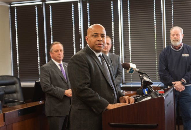 During a press conference held Tuesday, March 17, 2020, USI President Ronald Rochon announced the school would suspend in-person classes for the remainder of spring semester.