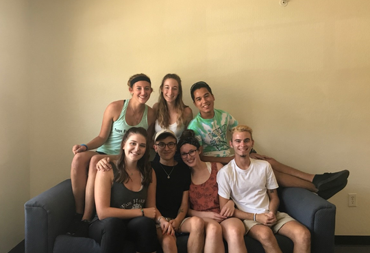 Emily, back row center, and friends (Amanda Smith, Jason Orellana, Jenna Freeman, Nick Gordley, Kristine Stearns, Dylan Brown) move into North Lake Village dorms at FGCU in 2017.