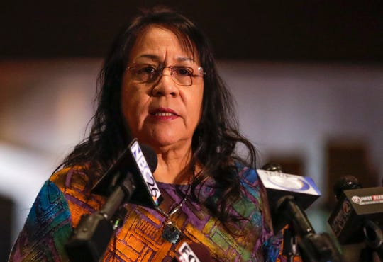 Oneida Casino's Louise Cornelius speaks during the Oneida Nation press conference about shutting down the casino starting Sunday, March 21, 2020, for 14 days on Tuesday, March 17, 2020, in Green Bay, Wis. Ebony Cox/USA TODAY NETWORK-Wisconsin