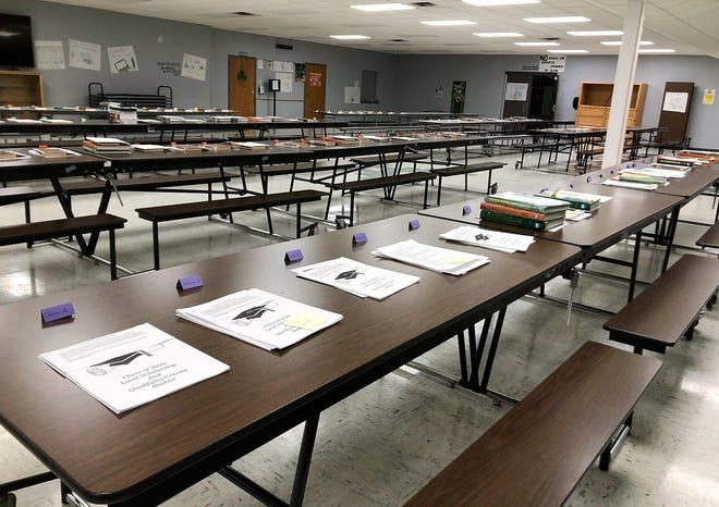 Neatly arranged packets of educational materials were ready to be picked up by Suring Public School District students on Wedneday, March 18, so learning can continue as school remains closed during the coronavirus health emergency.